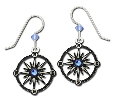 Earrings Compass with Light Topaz