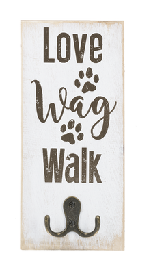 LOVE, WAG, WALK Sign with Hook