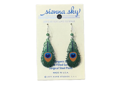 Earrings Peacock Feather