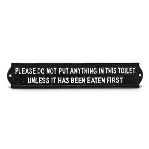 "Cast Iron Plaque ""Do Not Put Anything in Toilet"""