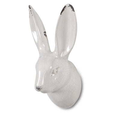 White Ceramic Bunny Head Wall Decor