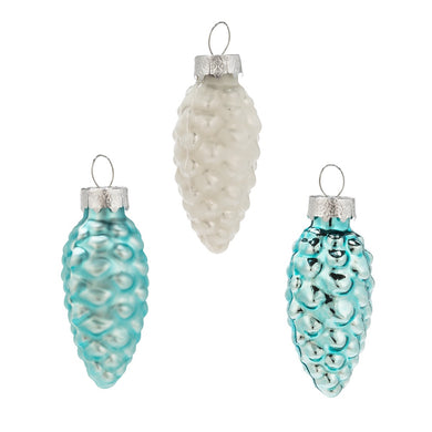 Blue Pinecone Ornaments Set of 8