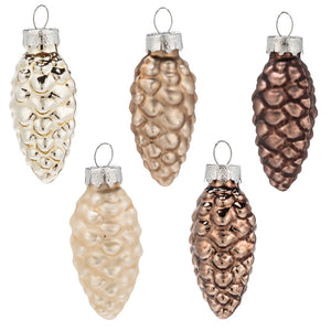 Brown Pinecone Ornaments Set of 8