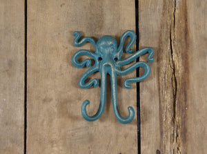 Cast Iron Teal Octopus Double Hook
