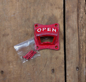 Red Cast Iron Wall Mount Bottle Opener