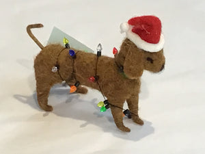 Christmas Ornament Wool Dog with Lights
