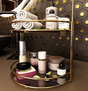 gold color Stainless Chrome Plated  metal make up cosmetic bathroom jewelry organizer