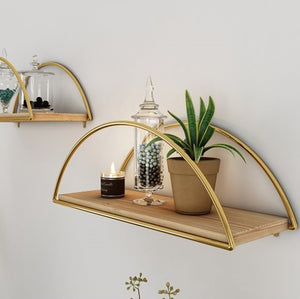 metal wall decor  wall shelf wall art design sehlf metal gold bathroom kitchen make up organizer