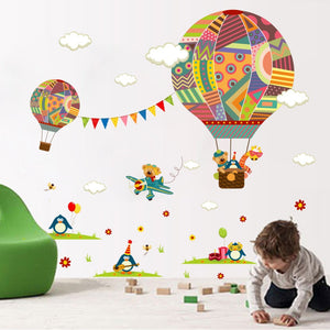 HOT AIR BALOONS CARTOON WALL REMOVABLE STICKER