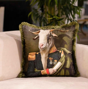 COMMANDER GOAT VELVET PILLOW
