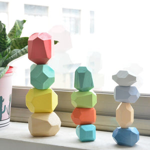Wooden  Rainbow Rock Children Educational Toys