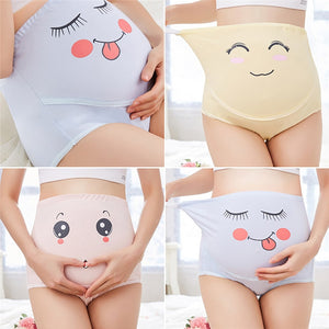 High Waist Belly Support Pregnant Women Underwear Cartoon Face Pattern Panties Breathable Cotton Adjustable Maternity Underwear