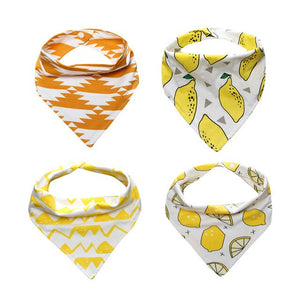 4PC INFANT BABY BIBS COTTON ABSORTMENT BANDANA WITH ADJUSTABLE SNAPS