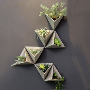 CREATIVE CEMENT 3D TRIANGLE SHAPE WALL FLOWER VASE