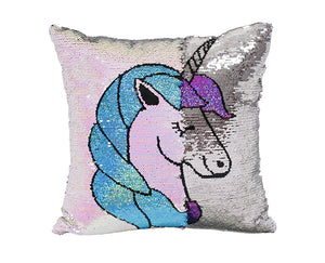 "MIRACLE UNICORN PATTERN REVERSIBLE SEQUINS THROW PILLOW CASE 16"" * 16"""