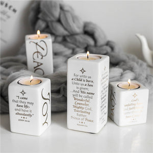 CERAMIC CANDLEHOLDERS WITH GOLD PRINTING QUOTES