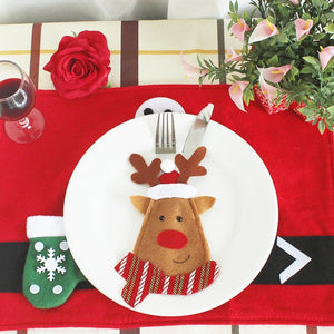 CHRISTMAS TABLEWARE DECORATION FORK &KNIFE POCKET