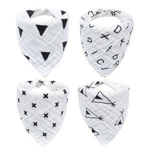 4pcs/lot BABY BIBS TRIANGLE BANDANA-8 LAYERS COTTON