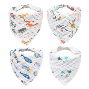4pcs/lot INFANT BABY BIBS TRIANGLE BANDANA-8 LAYERS COTTON