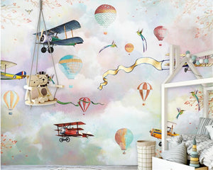 BALOON AND PLANE THEMED PLAYROOM WALLPAPERS