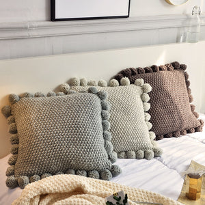 KNITTED CUSHION COVER PILLOW CASE WITH BALLS 45*45 cm