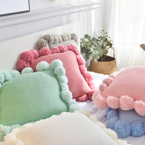POMPOM KNITTED CUSHION COVER 45*45cm