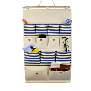 12 POCKETS NAVY BLUE STRIPE WALL HANGING ORGANIZER