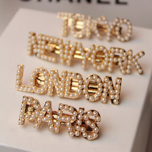 PEARLS LETTER HAIR CLIPS PINS
