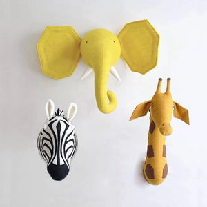 ZEBRA ELEPHANT GIRAFFE 3D ANIMAL HEAD WALL MOUNT STUFFED TOYS