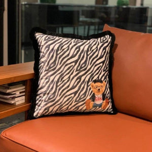 ZEBRA PATTERN TEDDY BEAR VELVET PILLOW