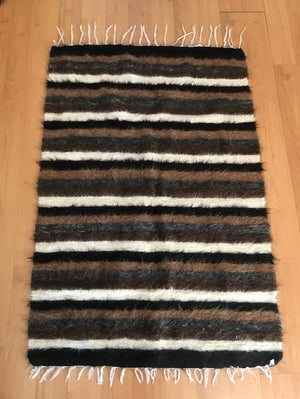 VINTAGE DECORATIVE TURKISH HANDWOVEN SIIRT STYLE GOAT WOOL KILIM