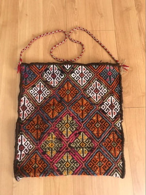 VINTAGE ANATOLIAN WOOL HANDWOVEN HEYBE BAG (SADDLE BAG)