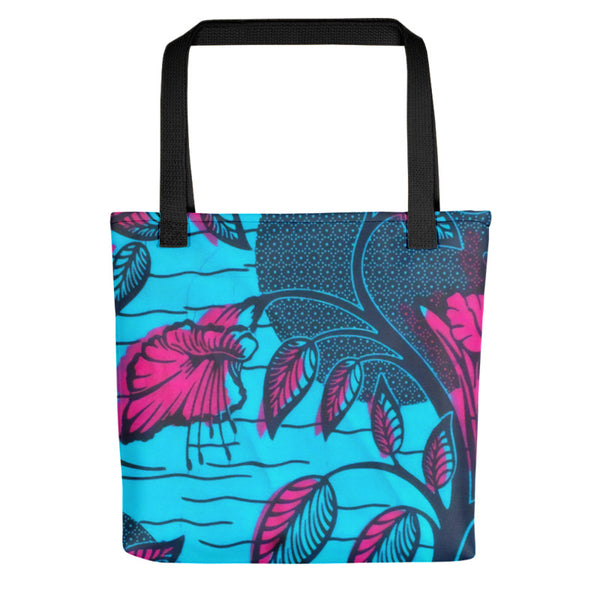 Blue Adire with Flower Tote bag