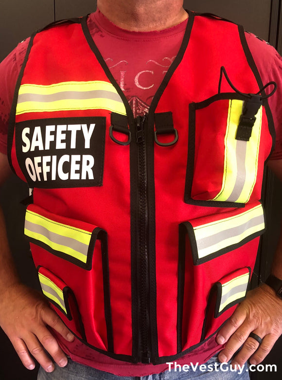 Red Safety Officer Reflective Vest by The Vest Guy