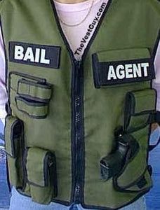 Bail Agent Vest - Custom Tactical Vest with pouches for handcuffs, gun, asp