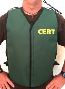 Custom green CERT vest with adjustable sides