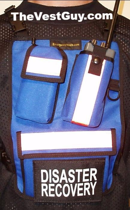 Blue radio chest pack with reflective