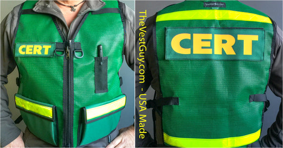 Custom mesh vest for CERT with pockets and reflective