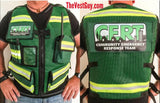 Green and Yellow Vest with pockets reflective and CERT logo
