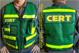 Green and Yellow CERT Vest with pockets and reflective