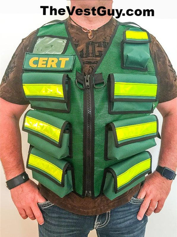 Green CERT vest with 7 pockets and reflective