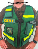 Green CERT vest with pockets and reflective