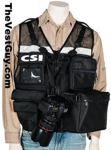 CSI Photo Vest with reflective, black mesh vest
