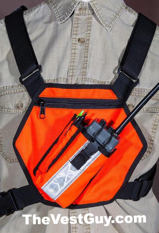 High Visibility single VHF-UHF radio pocket chest pack