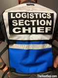 Two Tone Safety Reflective Vest Incident Command, Logistics Section Chief reflective vest by The Vest Guy, White and blue reflective vest