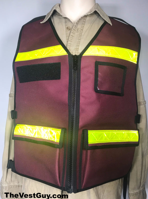 Burgundy Reflective Vest with name tags