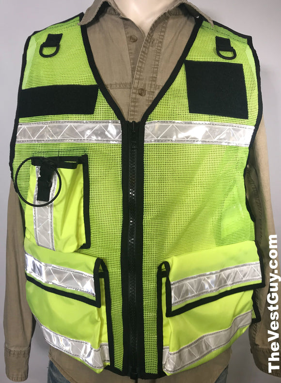 Florescent Green Mesh Vest with white reflective, yellow breakaway vest