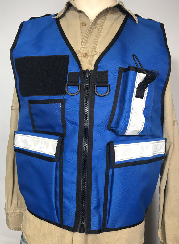 Royal Blue Reflective Vest with radio pocket