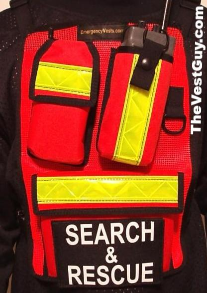 Orange high visibility radio pocket chest pack