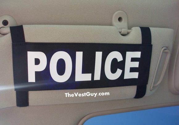 Black and white car sun visor name tag